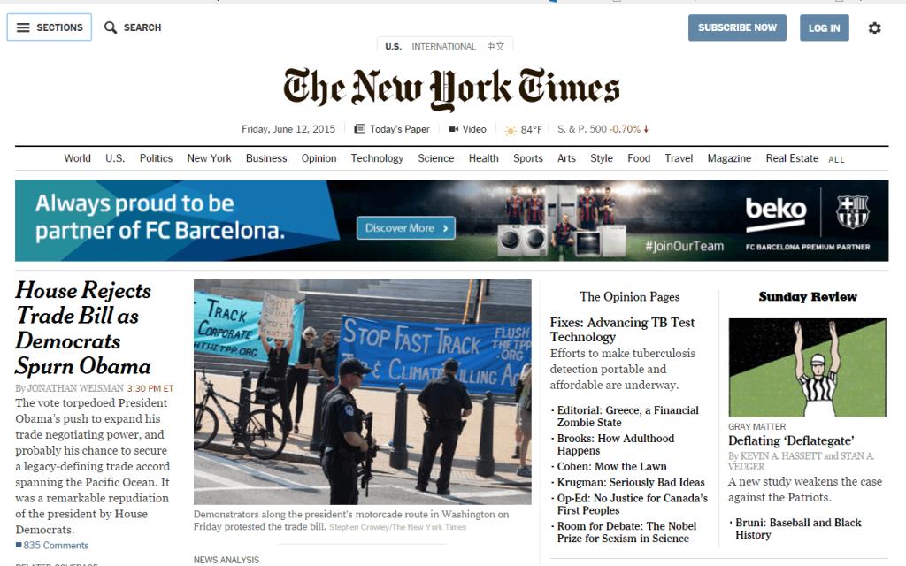 Главная страница The New York Times