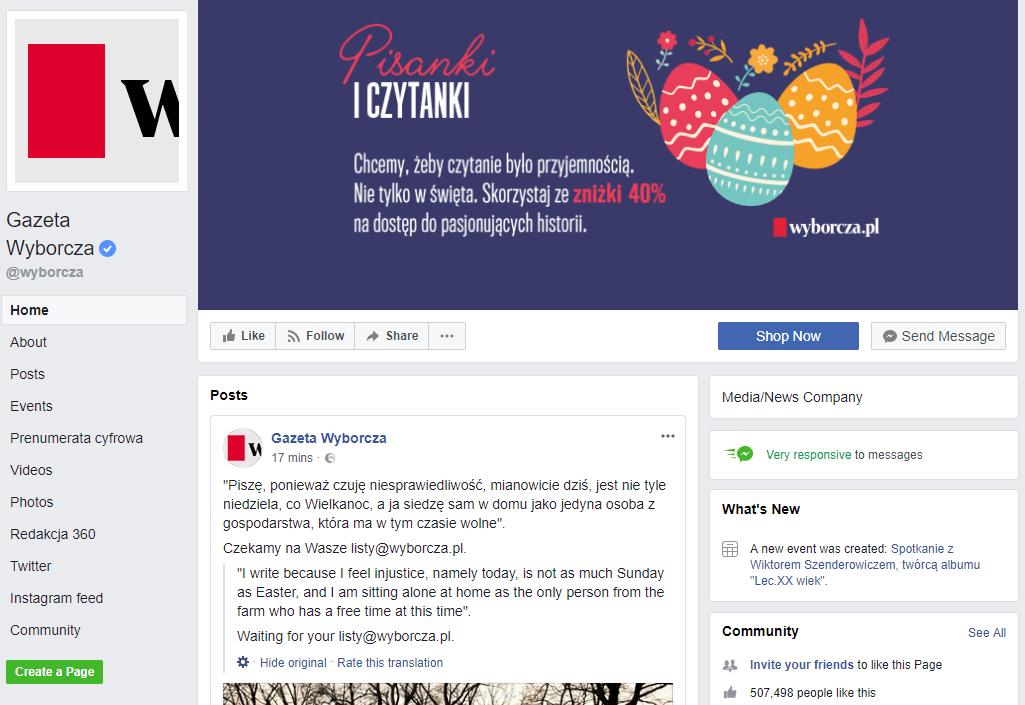 Страница Gazeta Wyborcza в Facebook